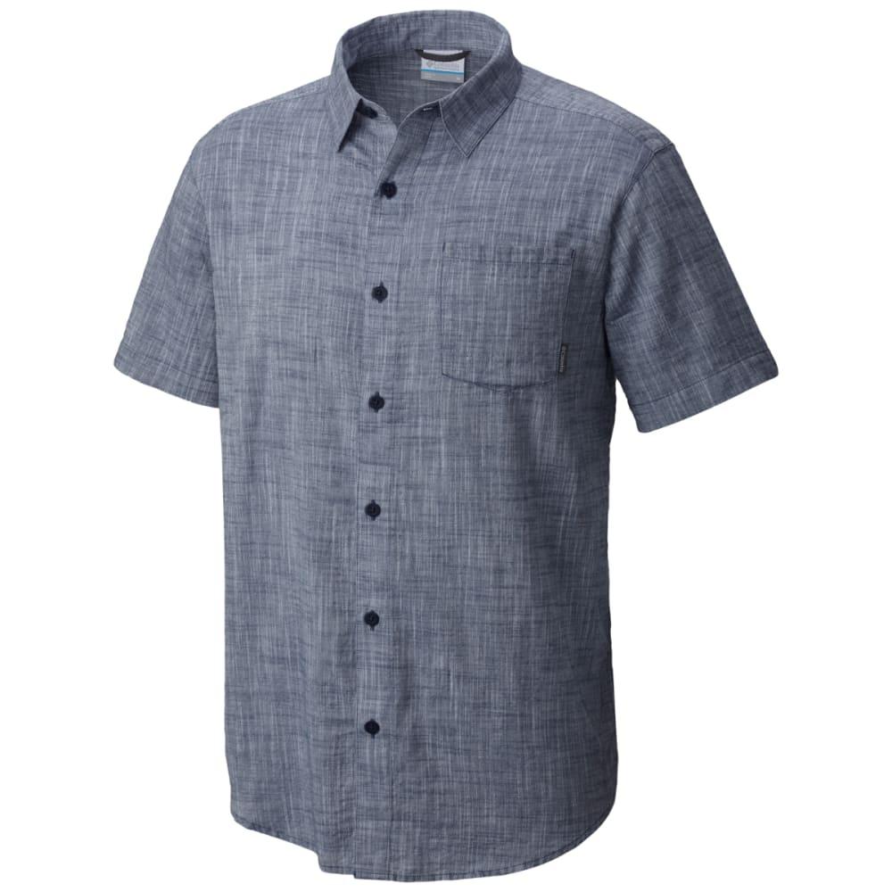 Columbia Men's Under Exposure Yarn-Dye Short Sleeve Shirt - Black, XXL