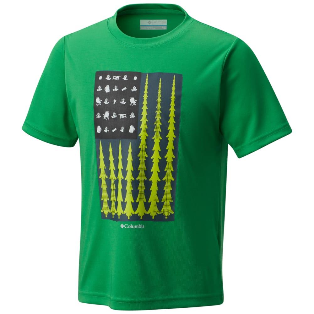 COLUMBIA Boys' Badge N' Flag Short Sleeve Shirt - FUSE GRN-345