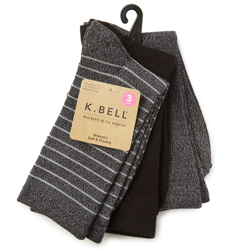 K BELL Women's Soft and Dreamy Crew Socks, 3-Pack - BLACK MARL