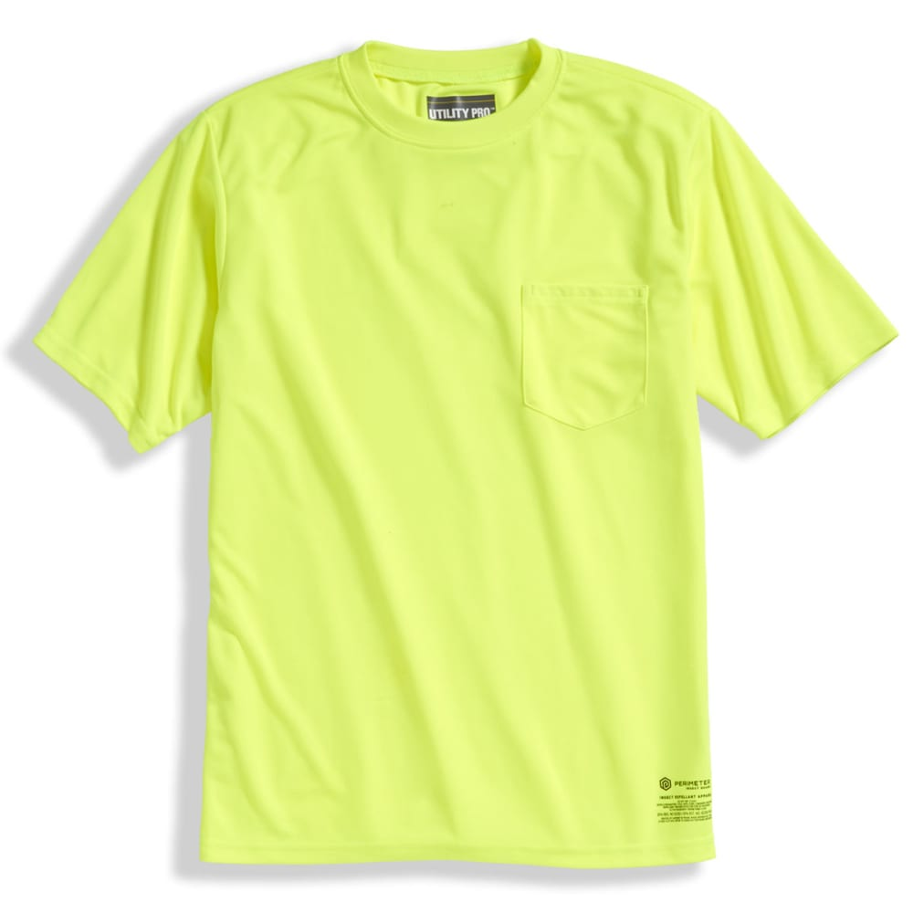 UTILITY PRO WEAR Men's Solid Short-Sleeve Tee with PERIMETER Insect Guard - FLORESSENT YELLOW