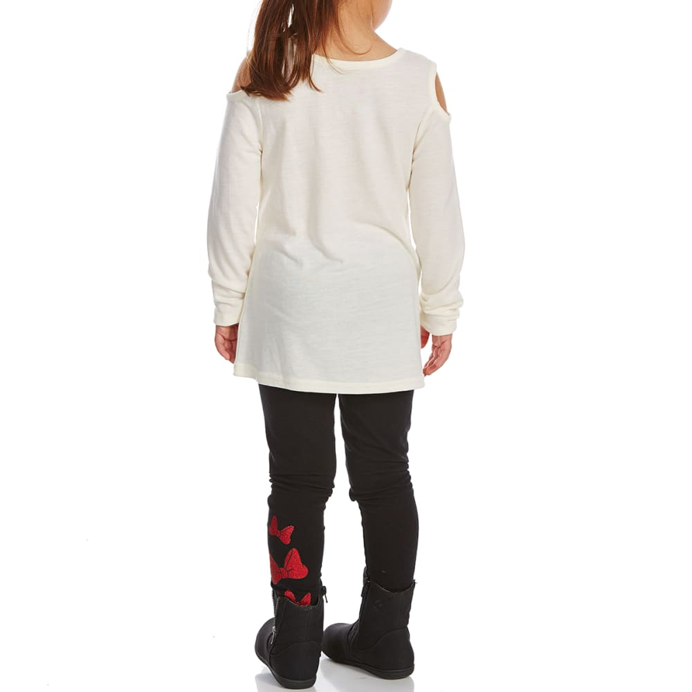 COLD CRUSH Little Girls' Minnie Mouse Cold-Shoulder Top and Leggings Set - EGGSHELL