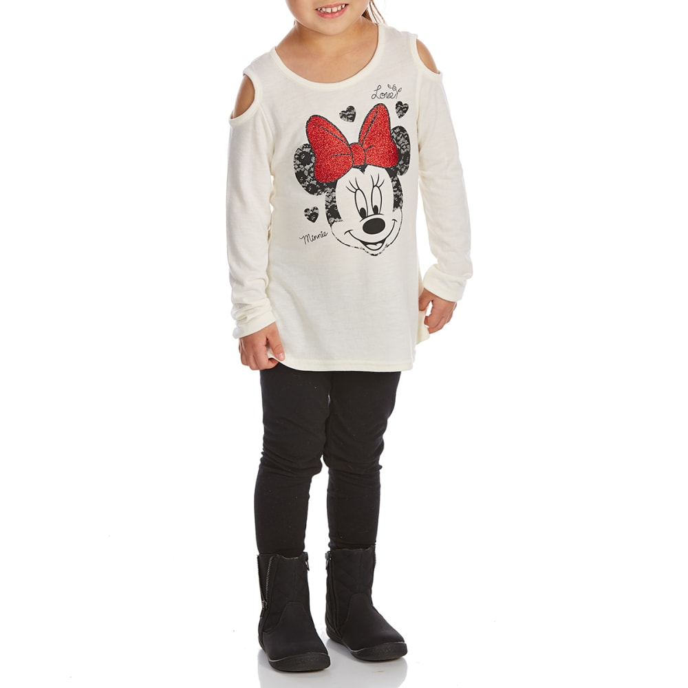 Cold Crush Little Girls Minnie Mouse Cold-Shoulder Top And Leggings Set - White, 4