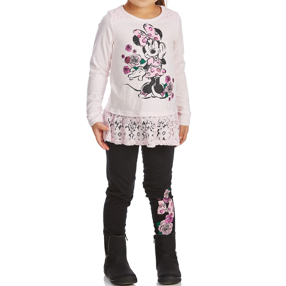 COLD CRUSH Little Girls' Minnie Mouse Lace Top and Leggings Set - SOFT PINK