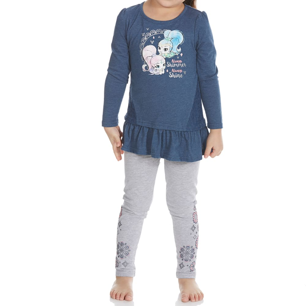 COLD CRUSH Little Girls' Shimmer and Shine Long-Sleeve Top and Leggings Set - HEATHER DENIM BLUE