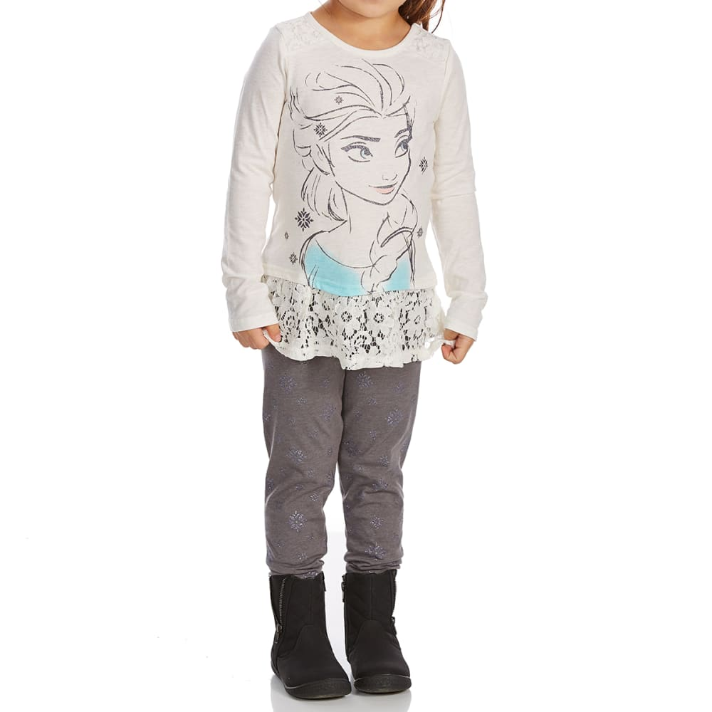 Cold Crush Little Girls Elsa Lace Top And Leggings Set - White, 4