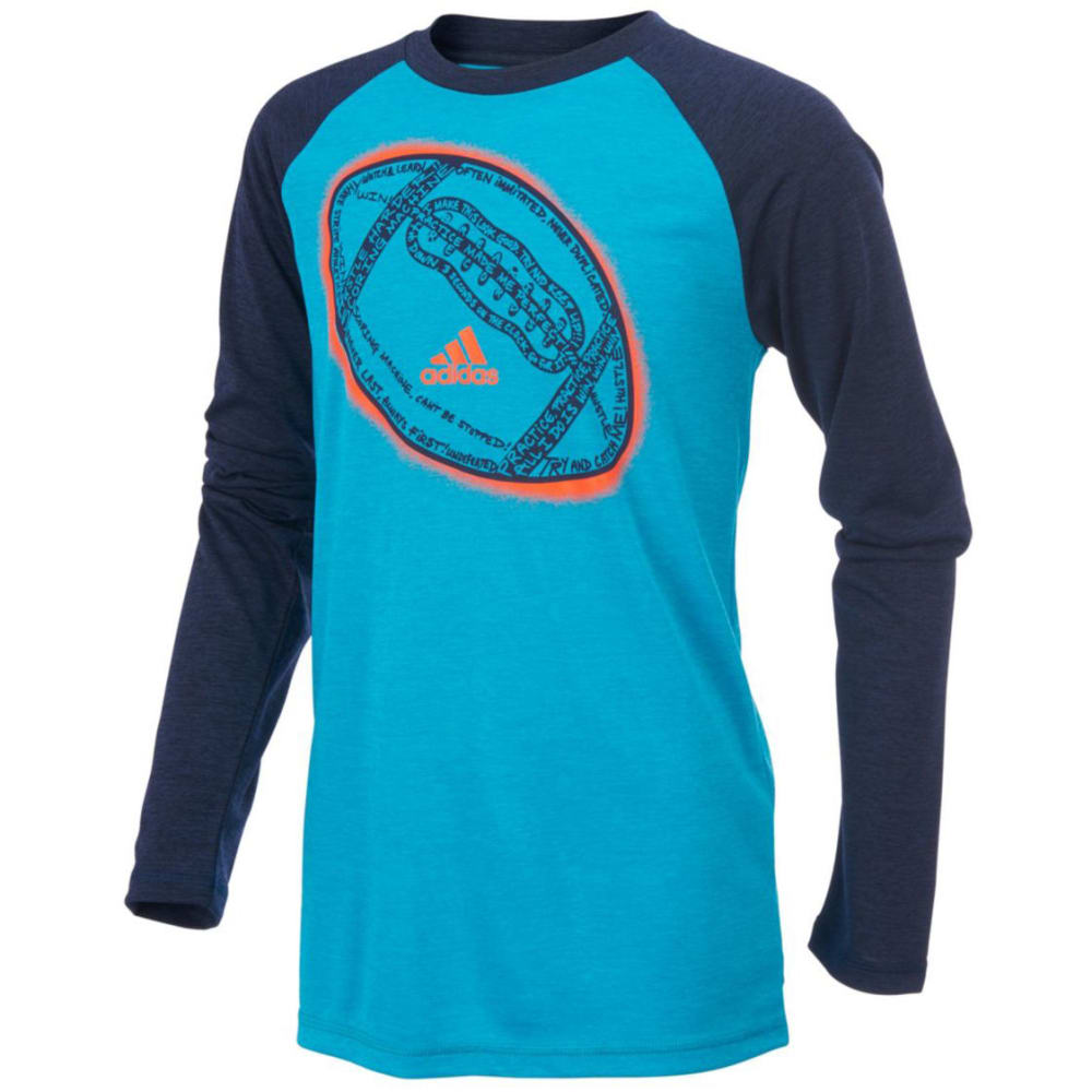 ADIDAS Boys' Ball Performance Raglan Long-Sleeve Tee - ENERGY BLUE HTR-AB05
