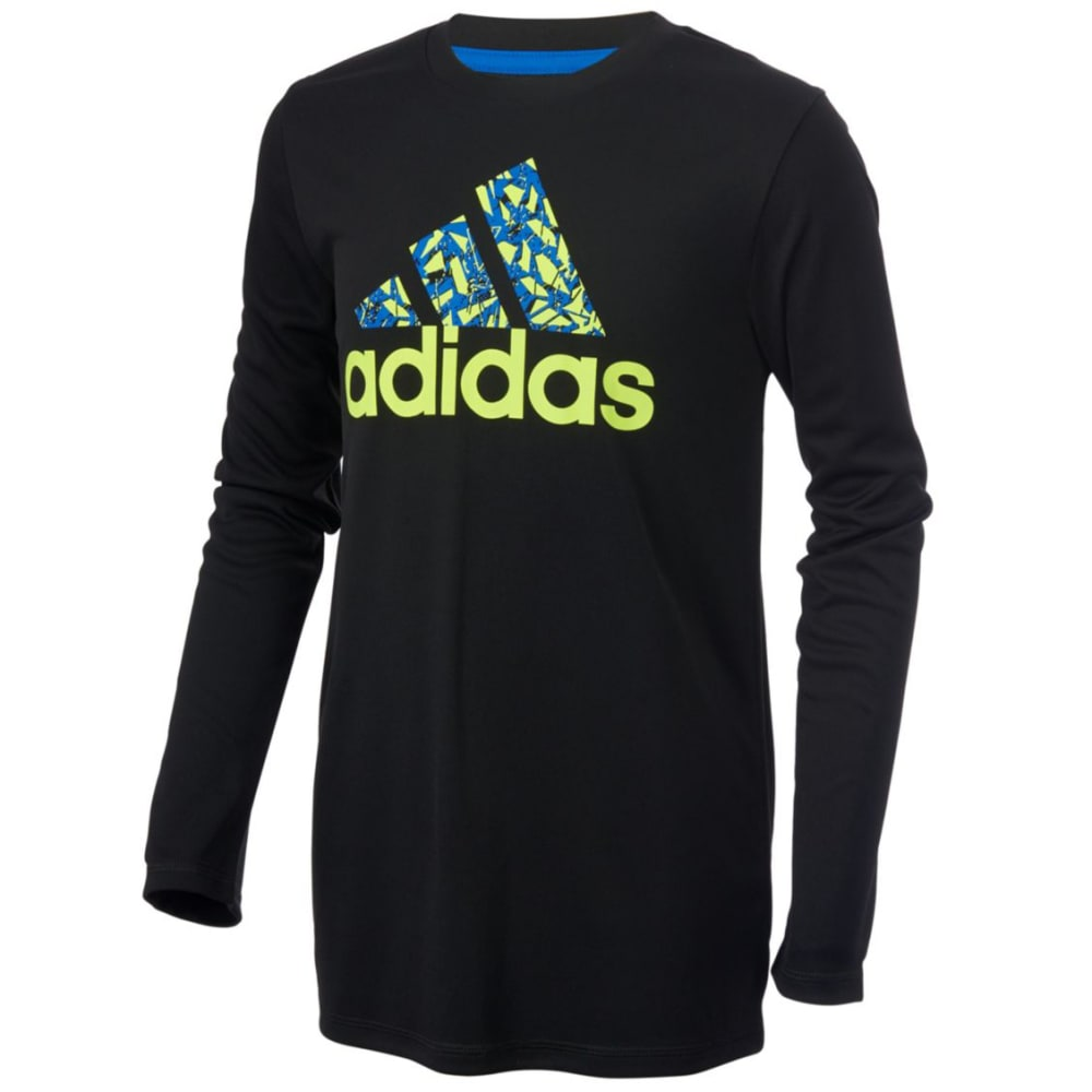 ADIDAS Boys' Badge of Sport Long-Sleeve Tee - BLACK W/ BLUE-K10