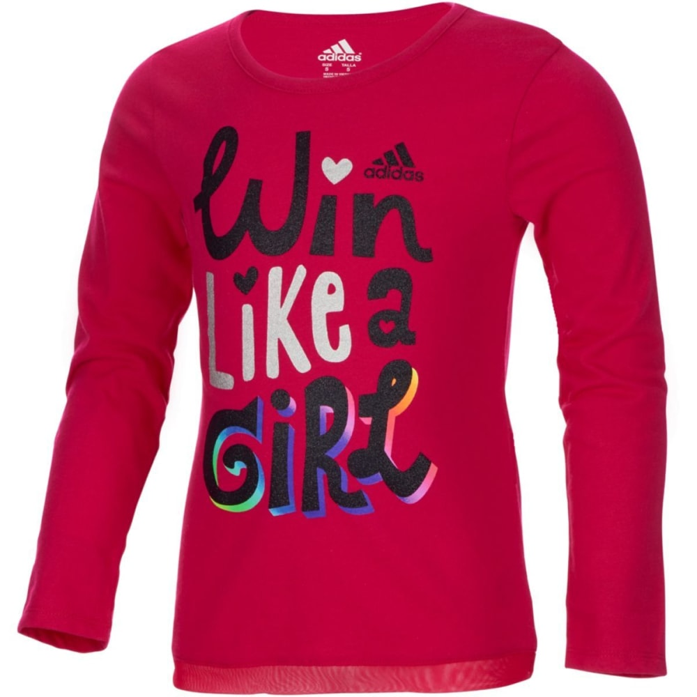Adidas Girls Win Like A Girl Long-Sleeve Tee - Red, 4