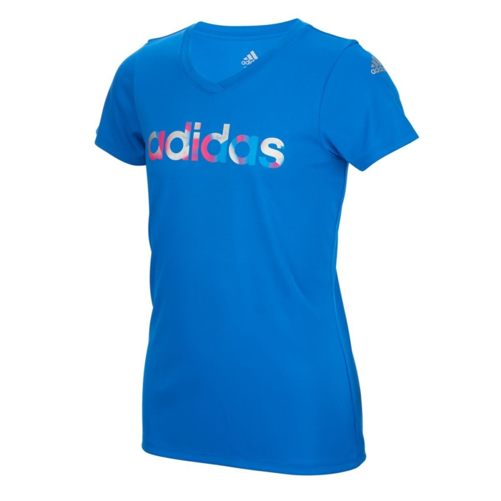 Adidas Girls Logo Short-Sleeve Tee - Blue, M