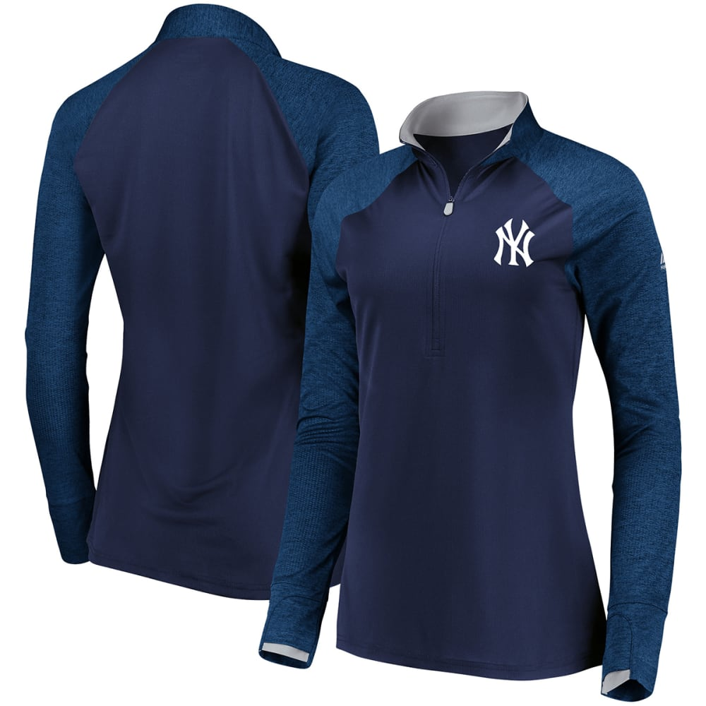NEW YORK YANKEES Women's Extremely Clear Cool Base Raglan 1/2-Zip Pullover - NAVY