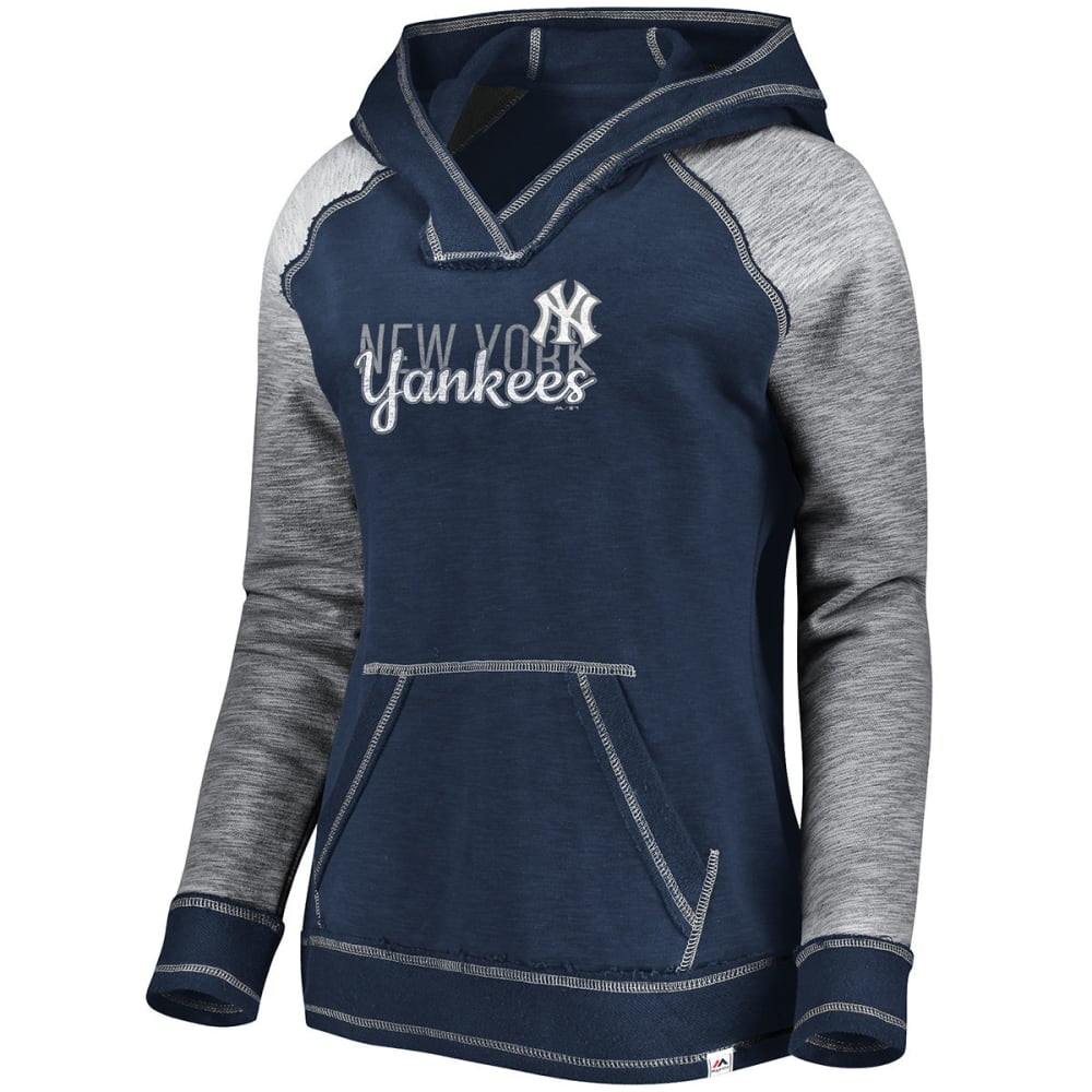 NEW YORK YANKEES Women's All That Matters Raglan Hoodie - NAVY/GREY