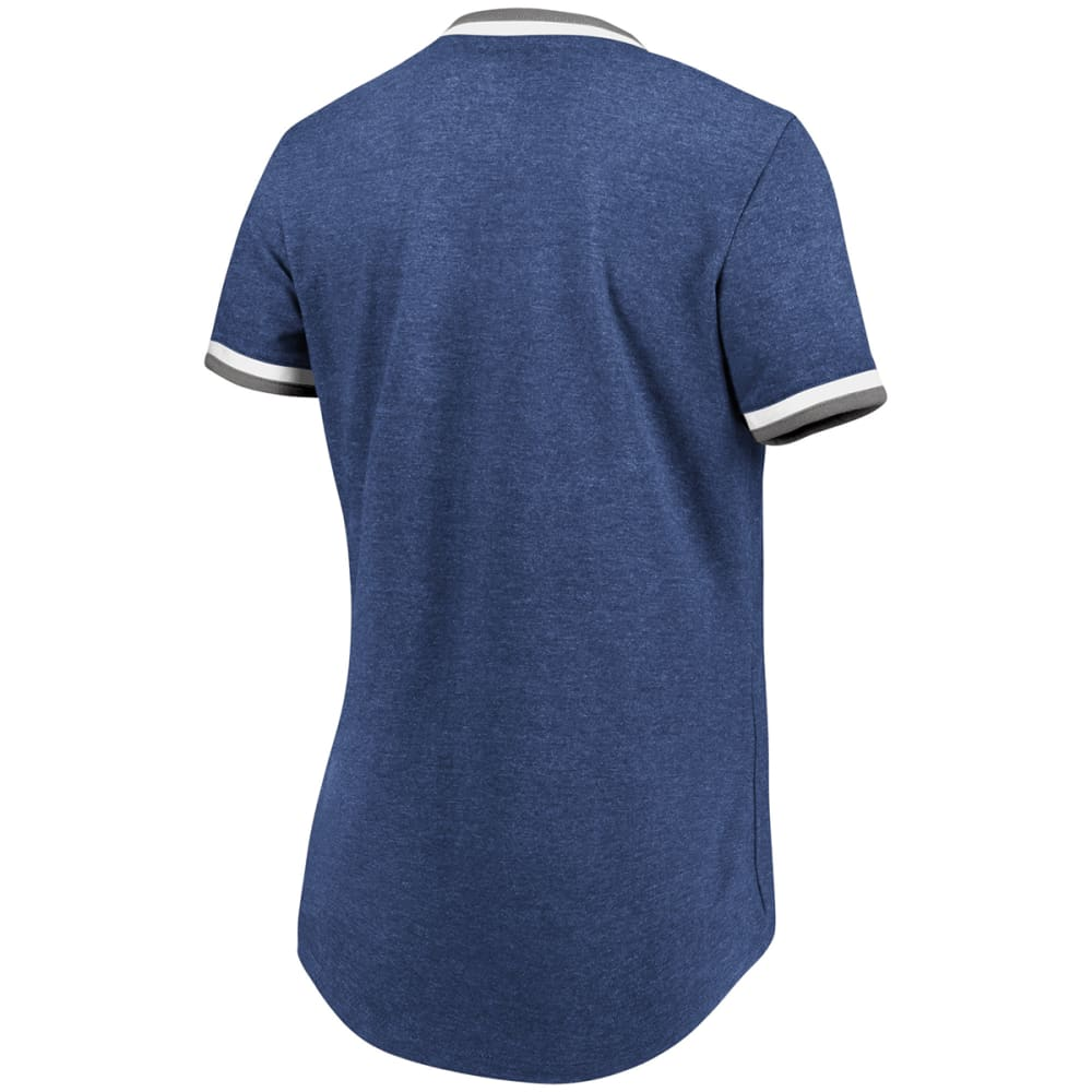 NEW YORK YANKEES Women's Driven By Results Foil V-Neck Short-Sleeve Tee - NAVY