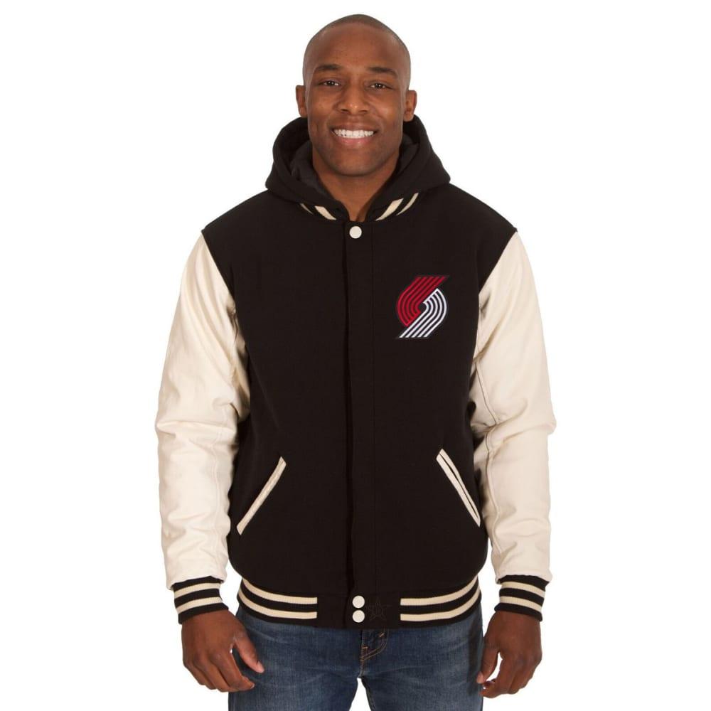 PORTLAND TRAILBLAZERS Men's Reversible Fleece Hooded Jacket - BLACK CREAM