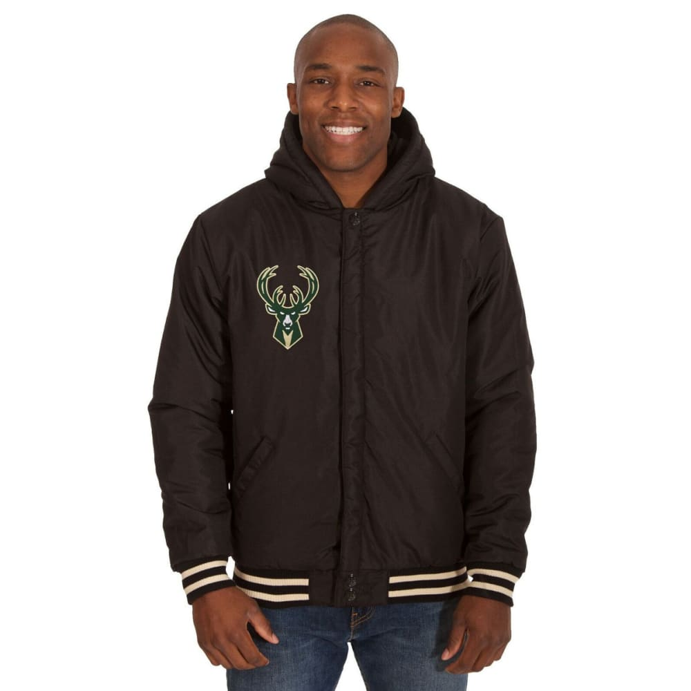 MILWAUKEE BUCKS Men's Reversible Fleece Hooded Jacket - BLACK CREAM