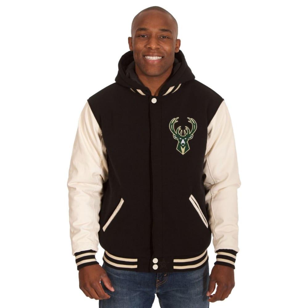 MILWAUKEE BUCKS Men's Reversible Fleece Hooded Jacket - BLACK CREAM
