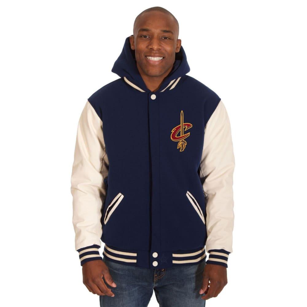 CLEVELAND CAVALIERS Men's Reversible Fleece Hooded Jacket - NAVY CREAM
