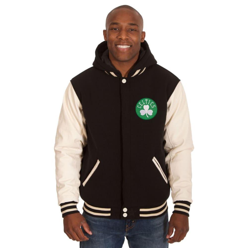 BOSTON CELTICS Men's Reversible Fleece Hooded Jacket - BLACK CREAM