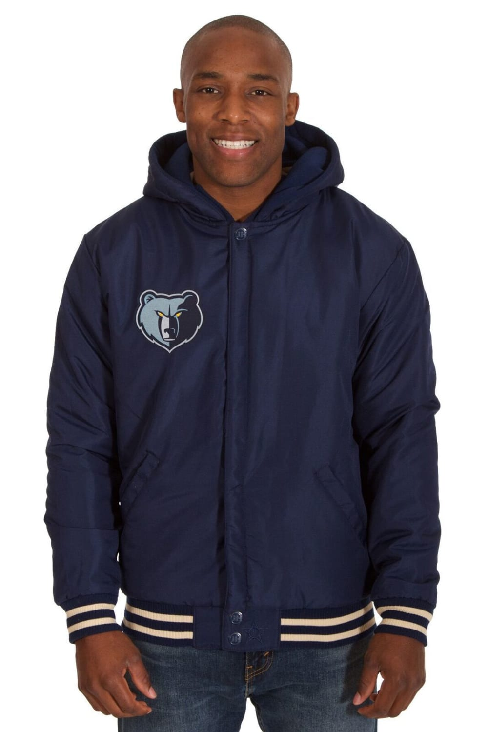 MEMPHIS GRIZZLIES Men's Reversible Fleece Hooded Jacket - NAVY CREAM