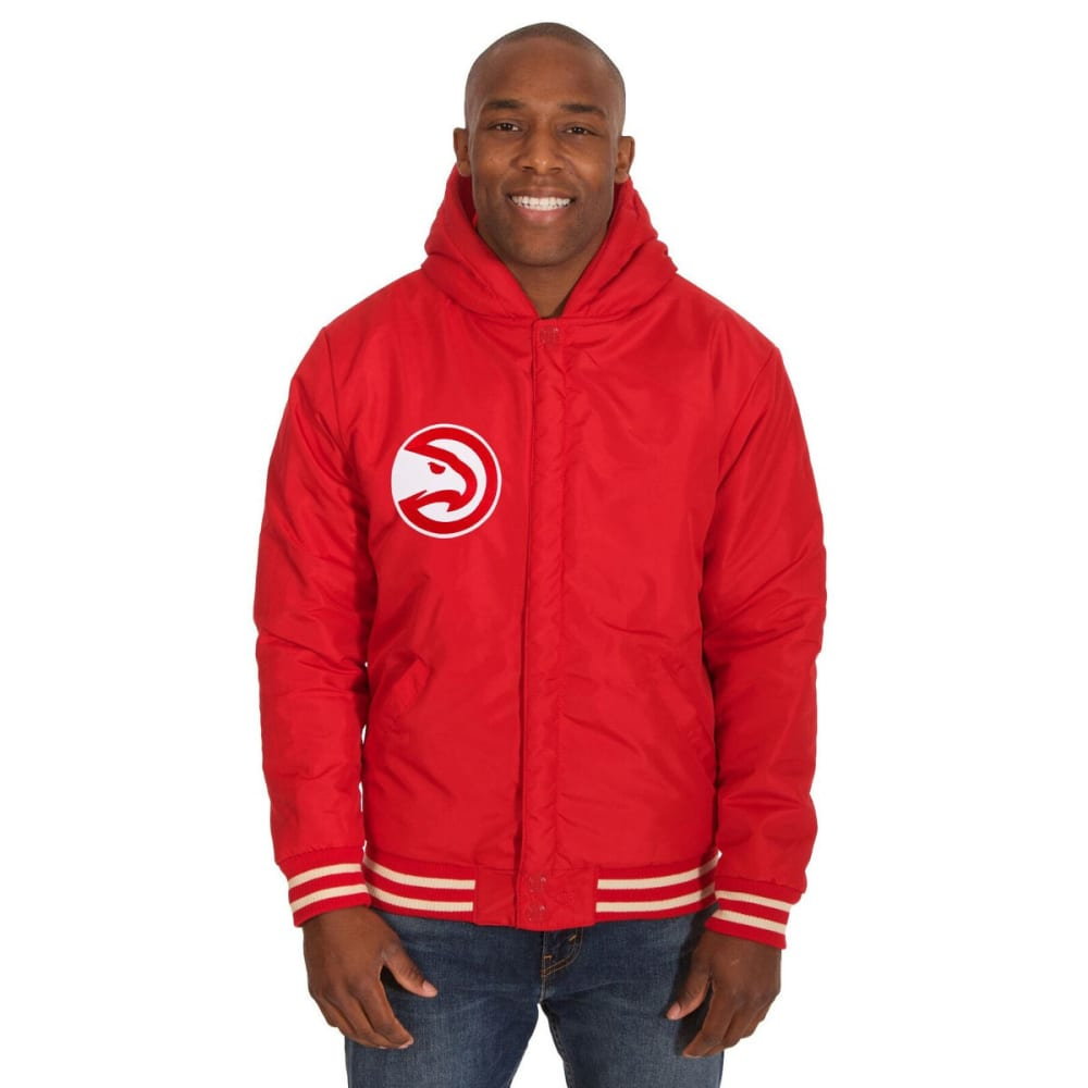ATLANTA HAWKS Men's Reversible Fleece Hooded Jacket - RED CREAM