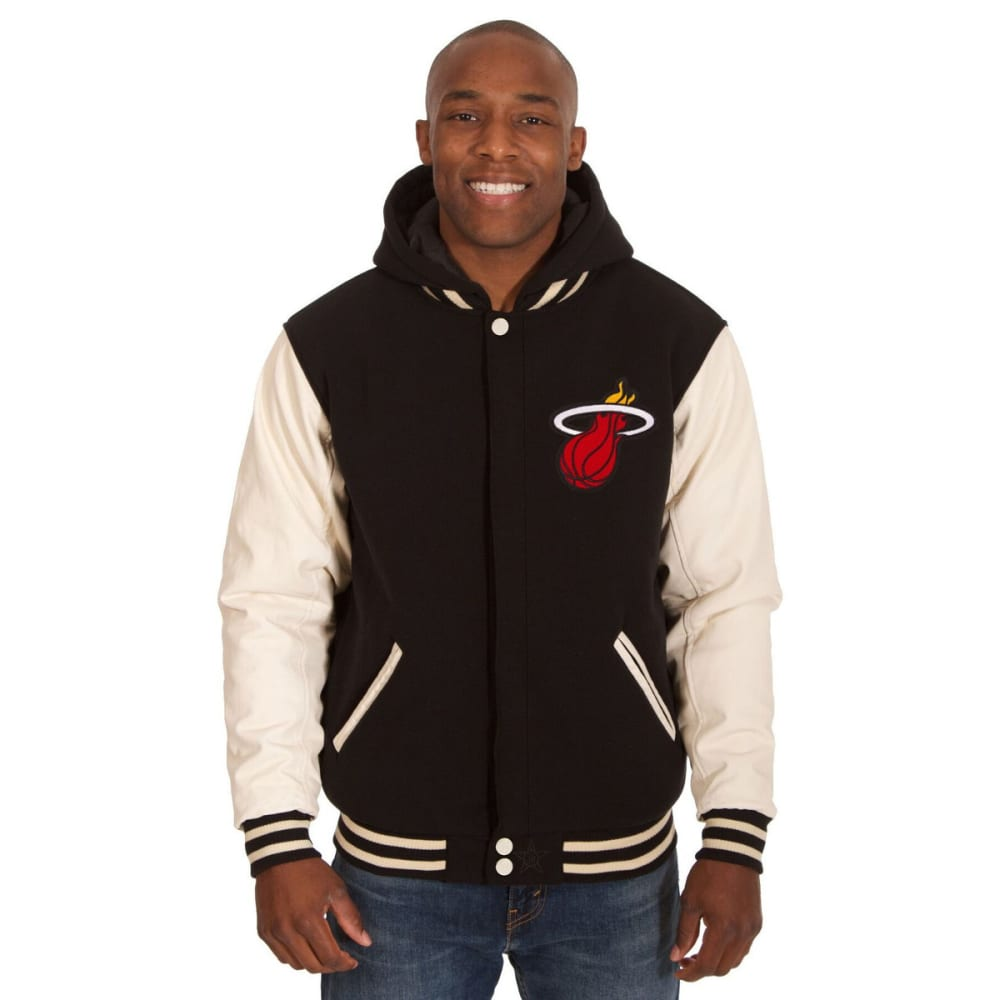 MIAMI HEAT Men's Reversible Fleece Hooded Jacket - BLACK CREAM