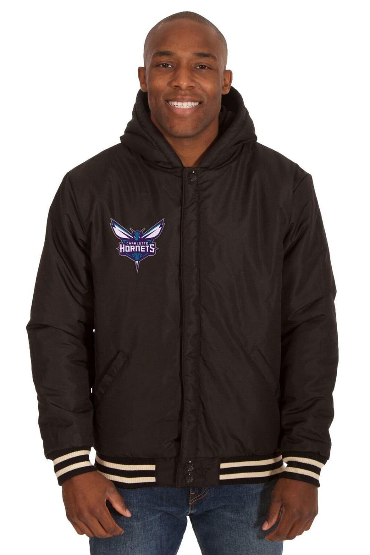 CHARLOTTE HORNETS Men's Reversible Fleece Hooded Jacket - BLACK CREAM