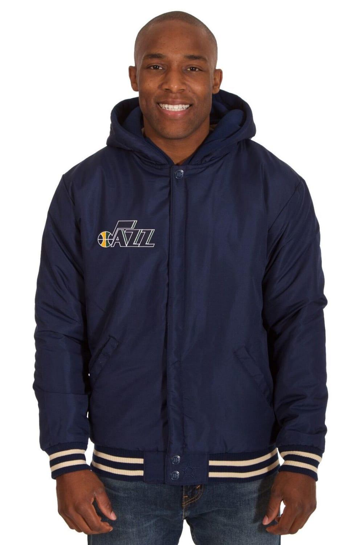 UTAH JAZZ Men's Reversible Fleece Hooded Jacket - NAVY CREAM