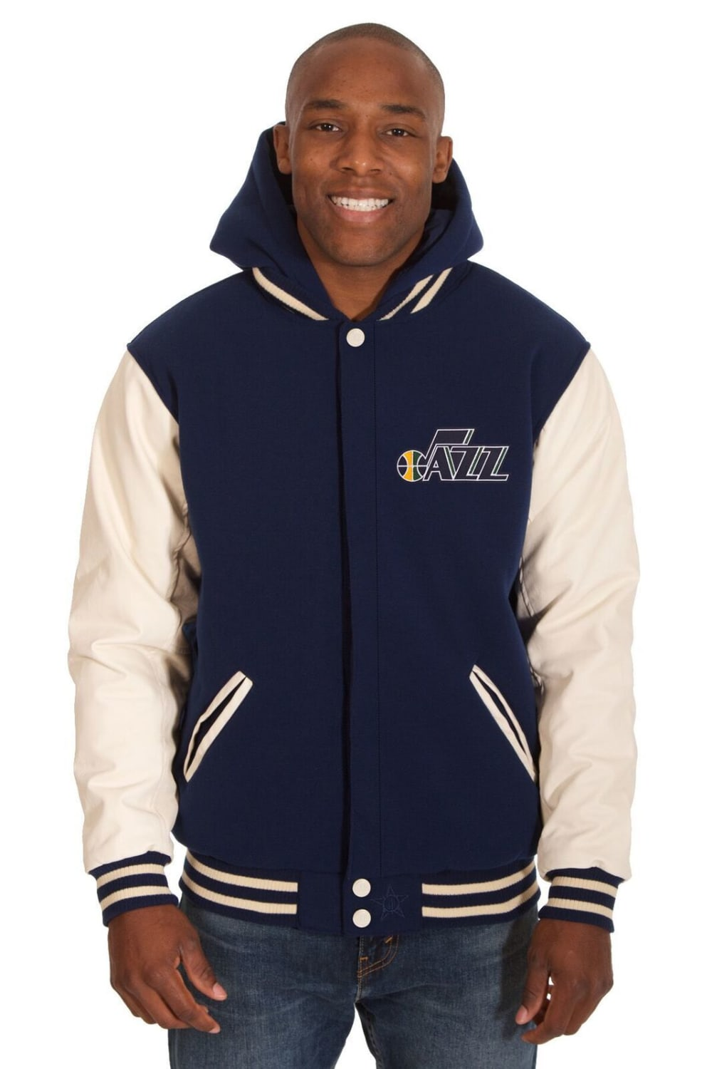 UTAH JAZZ Men's Reversible Fleece Hooded Jacket - NAVY CREAM