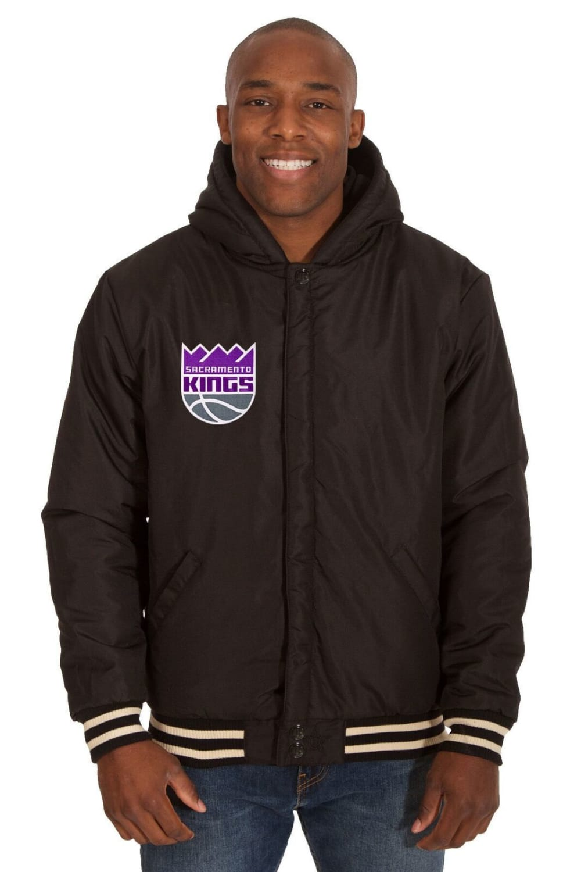 SACRAMENTO KINGS Men's Reversible Fleece Hooded Jacket - BLACK CREAM