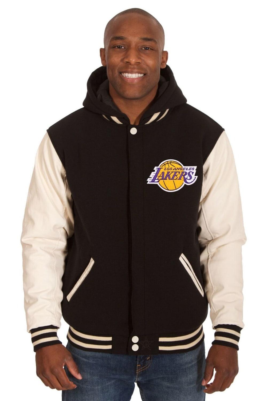 LOS ANGELES LAKERS Men's Reversible Fleece Hooded Jacket - BLACK CREAM