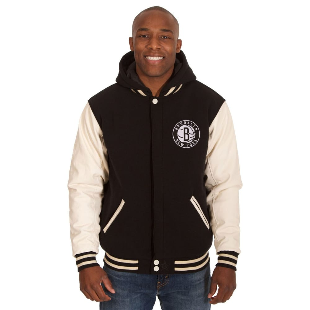 NEW YORK NETS Men's Reversible Fleece Hooded Jacket - BLACK CREAM