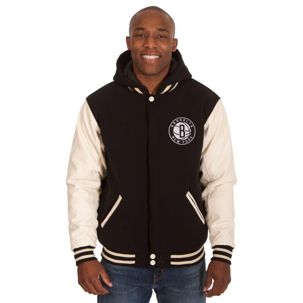 NEW YORK NETS Men's Reversible Fleece Hooded Jacket - BLACK CREAM