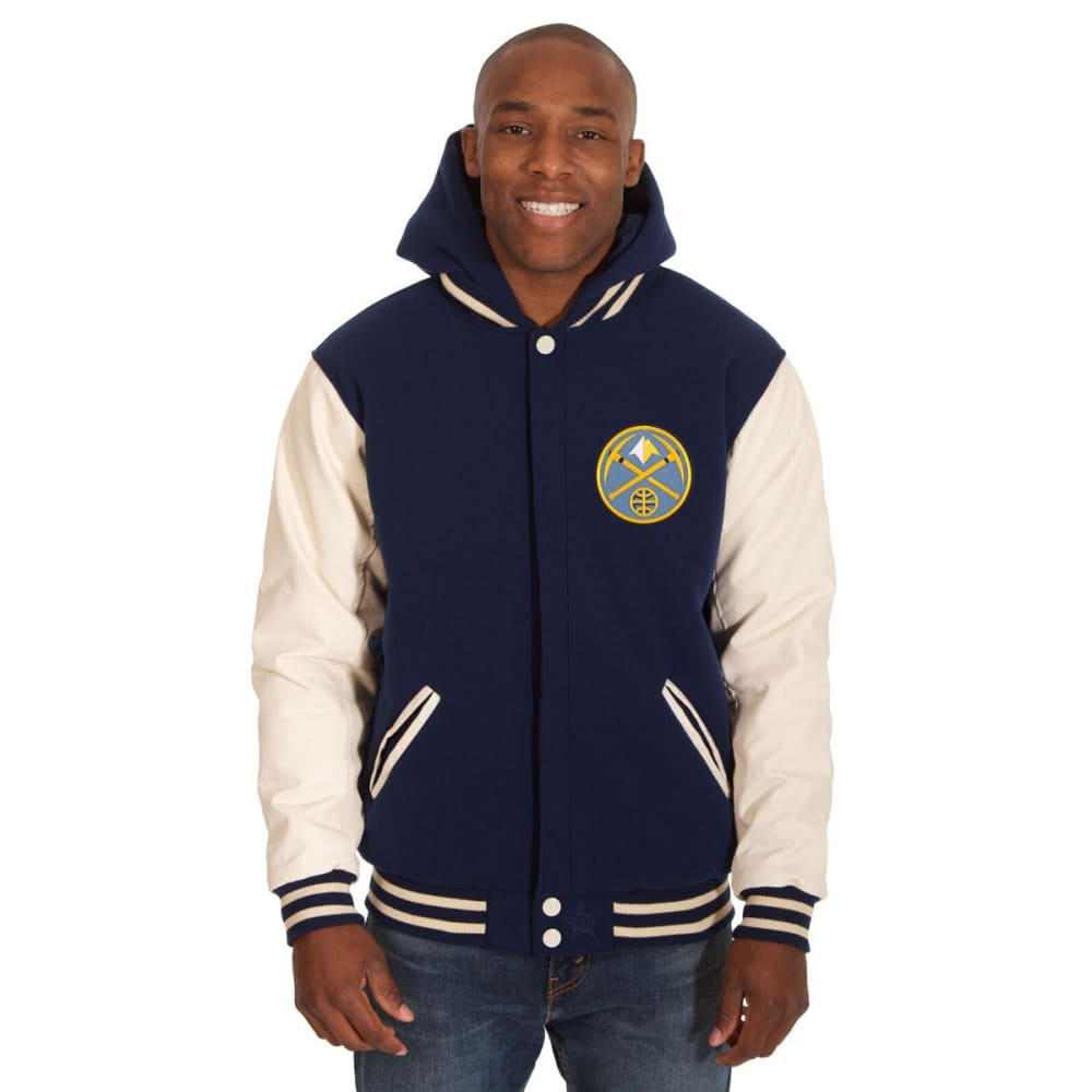 DENVER NUGGETS Men's Reversible Fleece Hooded Jacket - NAVY CREAM