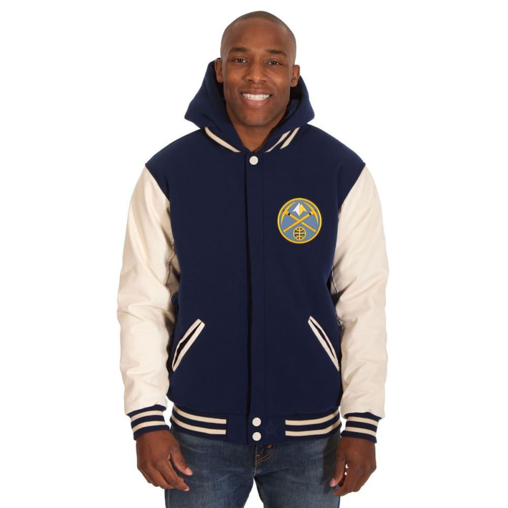 DENVER NUGGETS Men's Reversible Fleece Hooded Jacket - NAVY CREAM