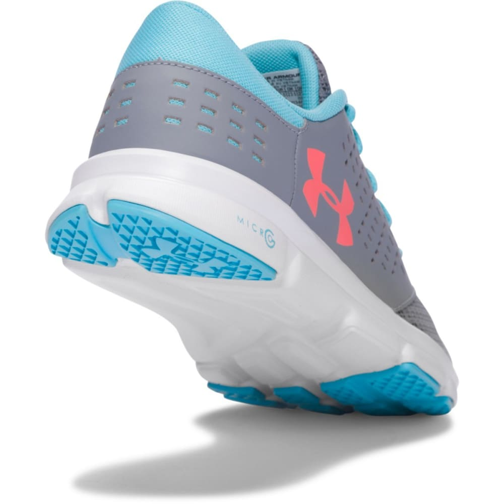 UNDER ARMOUR Girls' Grade School UA Micro G® Rave Running Shoes, Steel/Venetian Blue - GREY