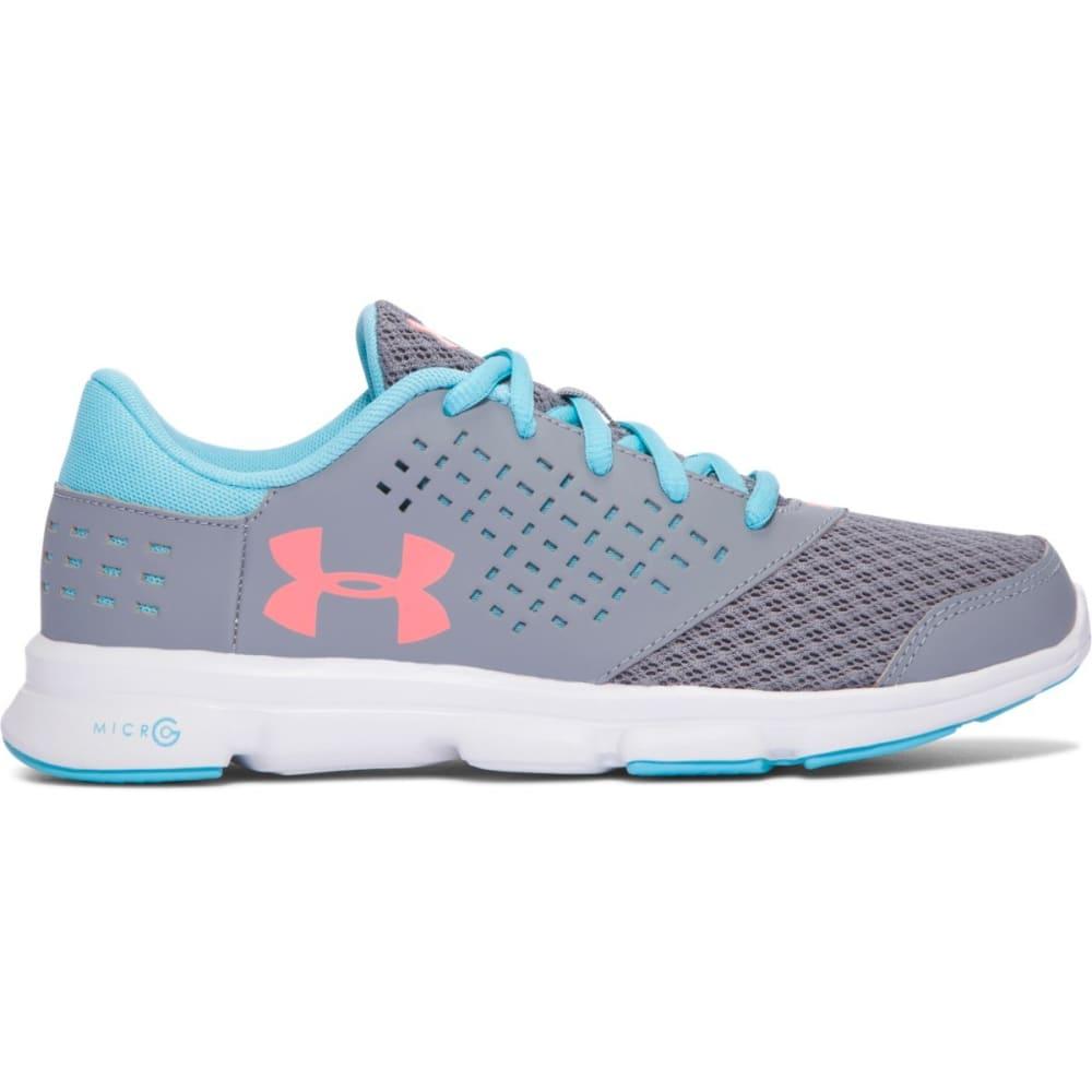 UNDER ARMOUR Girls' Grade School UA Micro G® Rave Running Shoes, Steel/Venetian Blue - GREY