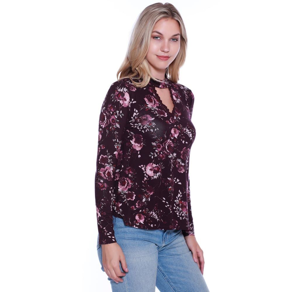 TAYLOR & SAGE Juniors' Floral Print Long-Sleeve Choker Top - DBB-DARK BERRY BARK