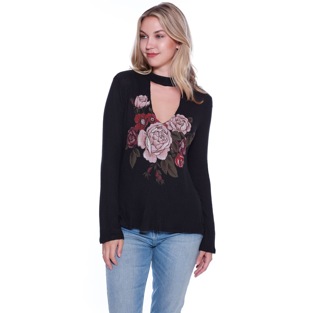 TAYLOR & SAGE Juniors' Floral Screen Thermal Choker Top - TAR-TAR