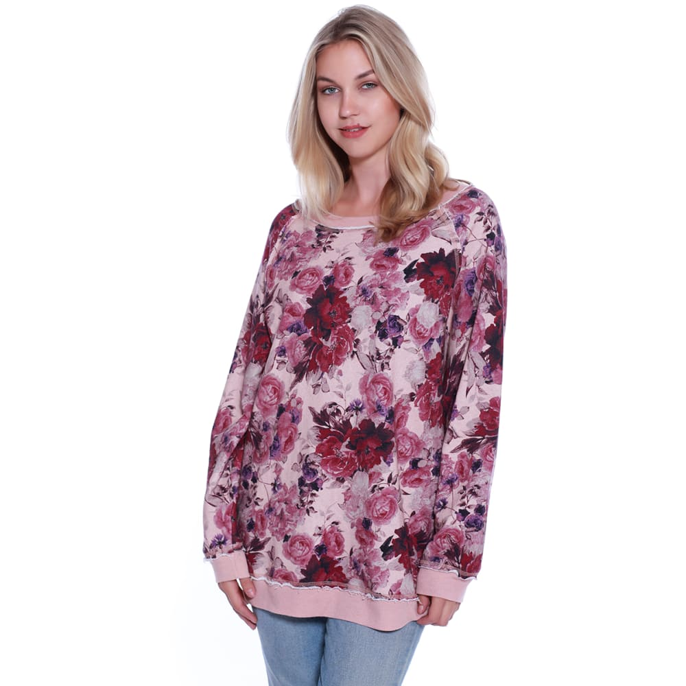 TAYLOR & SAGE Juniors' Floral Oversized Long-Sleeve Sweatshirt - NNU-NEAR NUDE