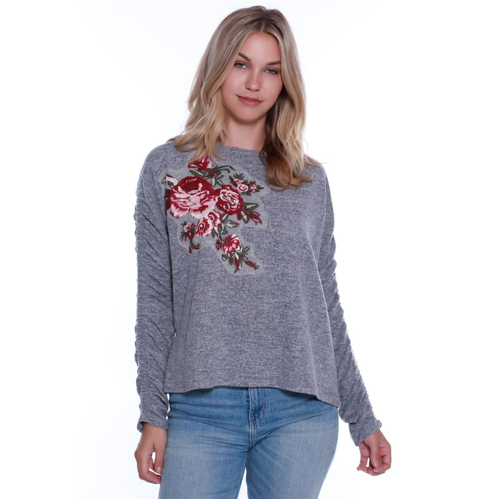 TAYLOR & SAGE Juniors' Floral Embroidered Cinch Sleeve Top - HGREY-HEATHER GREY