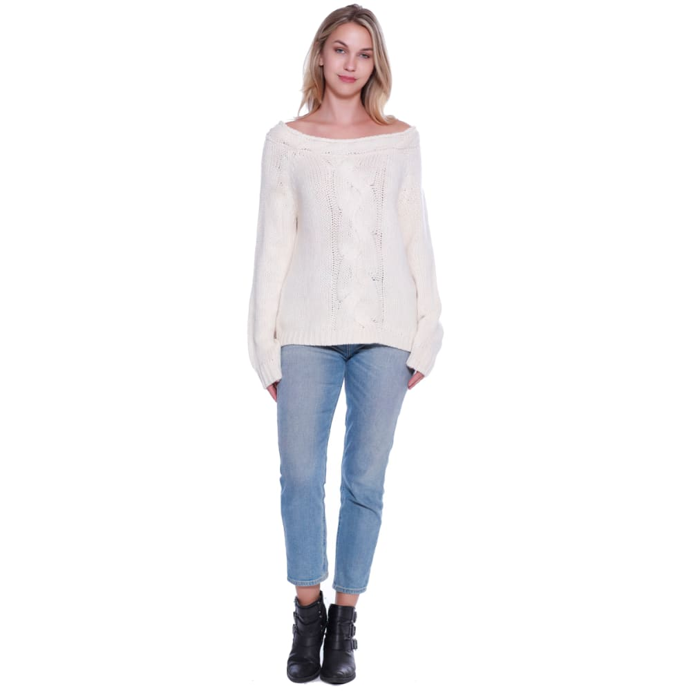 TAYLOR & SAGE Juniors' Cable Boatneck Long-Sleeve Sweater - WHS-WHITE SAGE