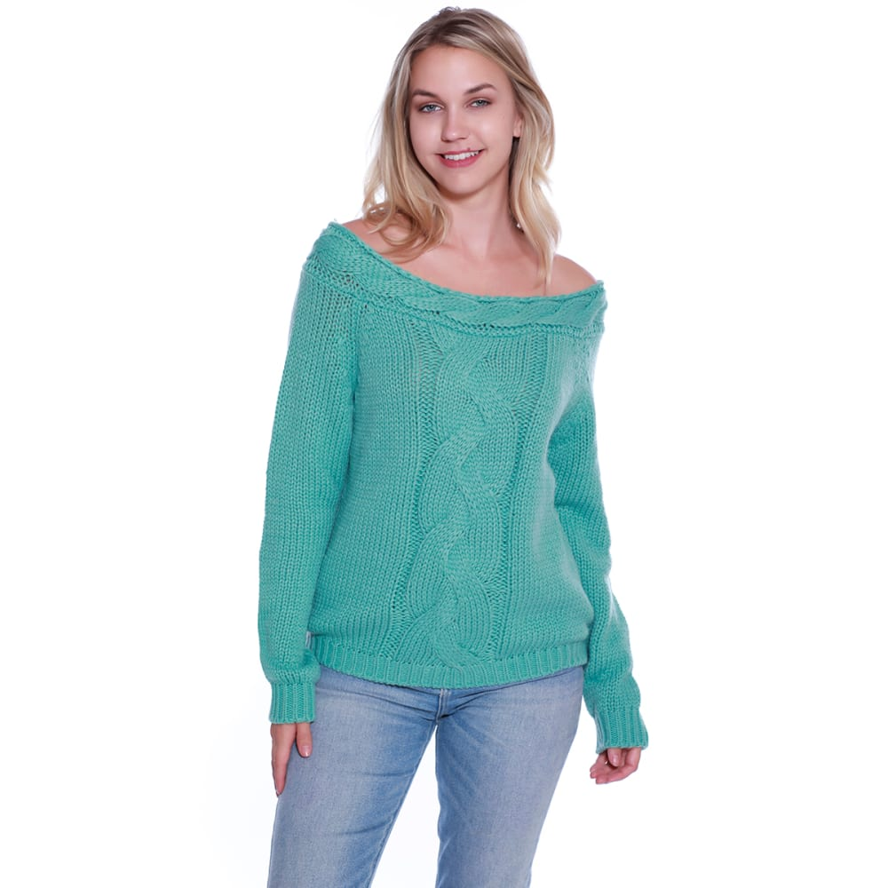 TAYLOR & SAGE Juniors' Cable Boatneck Long-Sleeve Sweater S