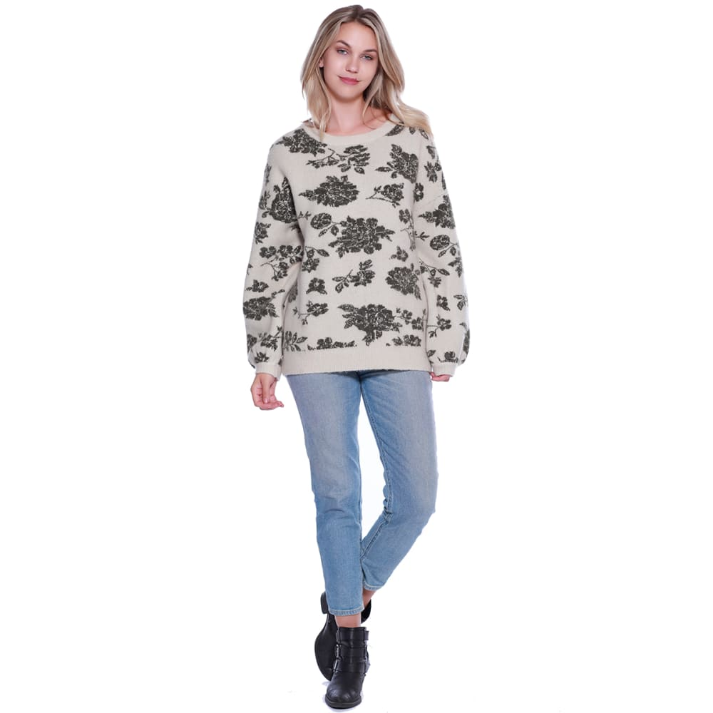 TAYLOR & SAGE Juniors' Floral Print Sweater - OLV-OLIVE
