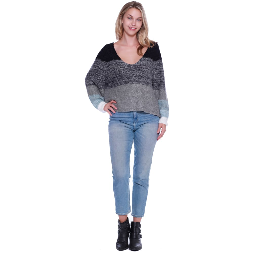 TAYLOR & SAGE Juniors' Colorblock Stripe V-Neck Sweater - INS-INDIGO STORM