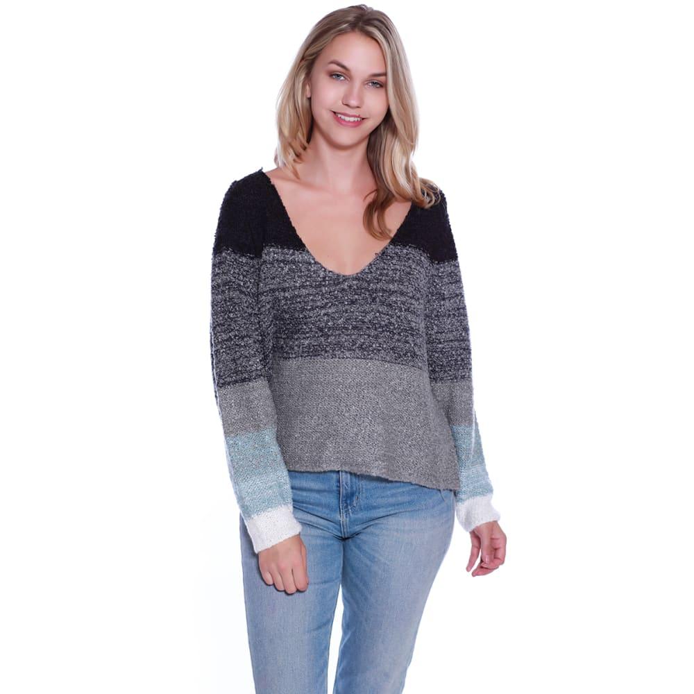 TAYLOR & SAGE Juniors' Colorblock Stripe V-Neck Sweater S