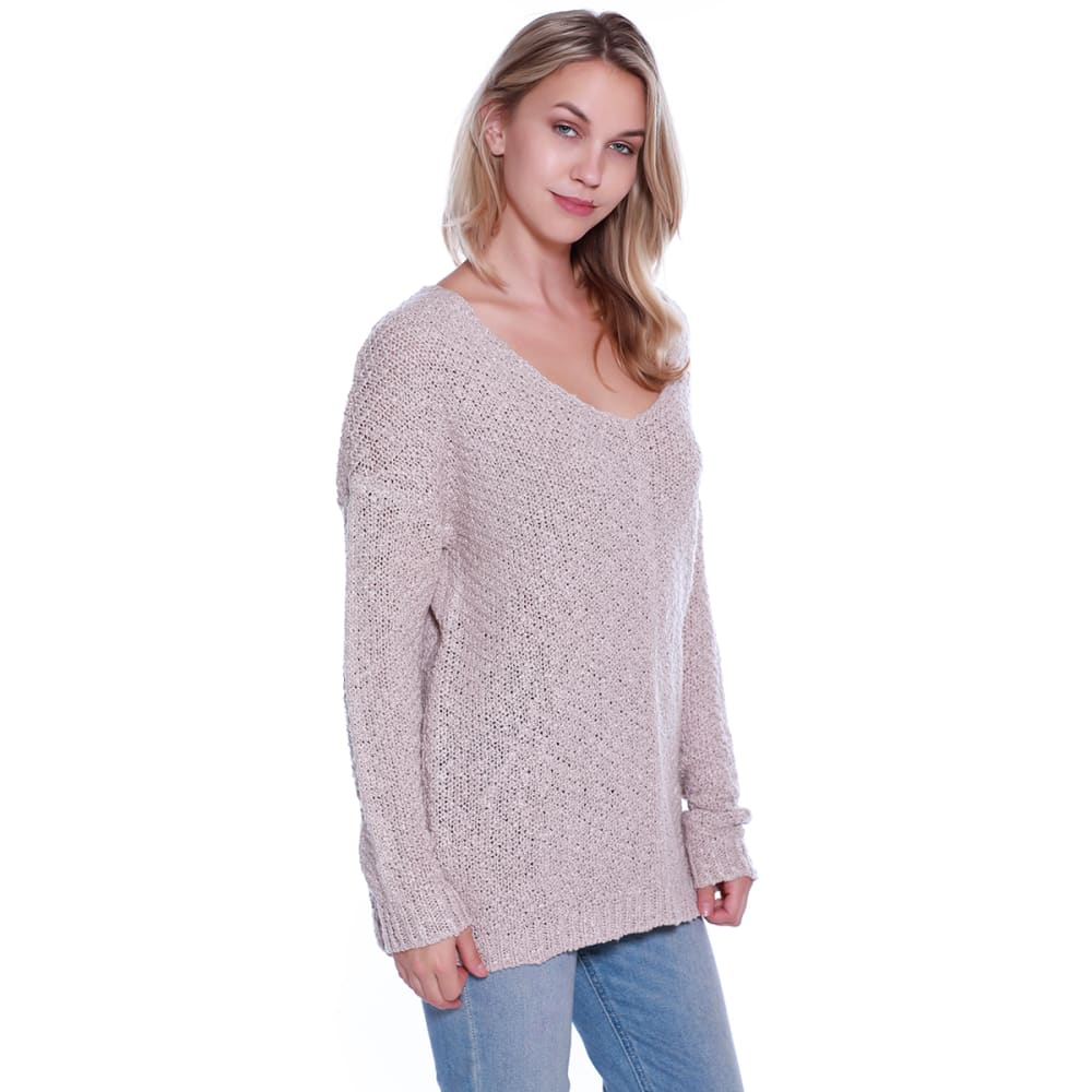 TAYLOR & SAGE Juniors' Deconstructed Back Scoop-Neck Long-Sleeve Sweater - COC-COCOA POWDER