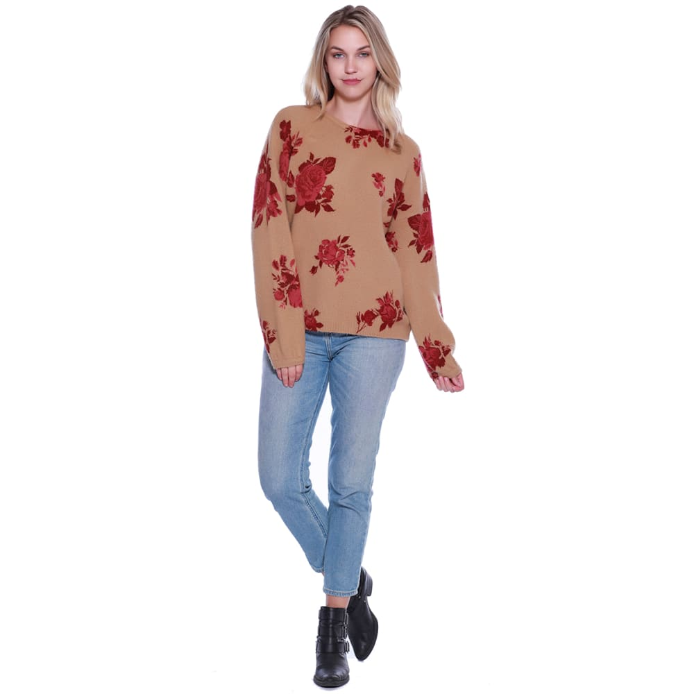 TAYLOR & SAGE Juniors' Floral Print Long-Sleeve Sweater - TAP-TAUPE
