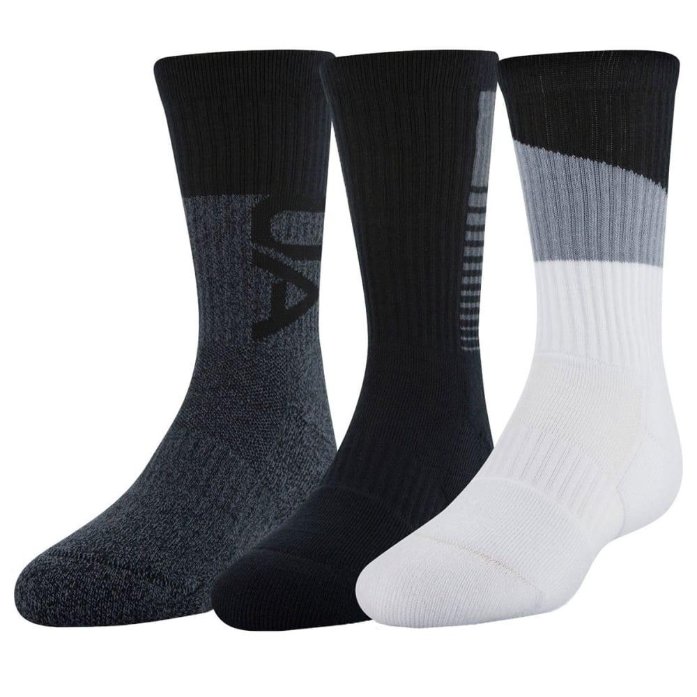 Under Armour Boys' Phenom 3.0 Crew Socks, 3-Pack - Black, L