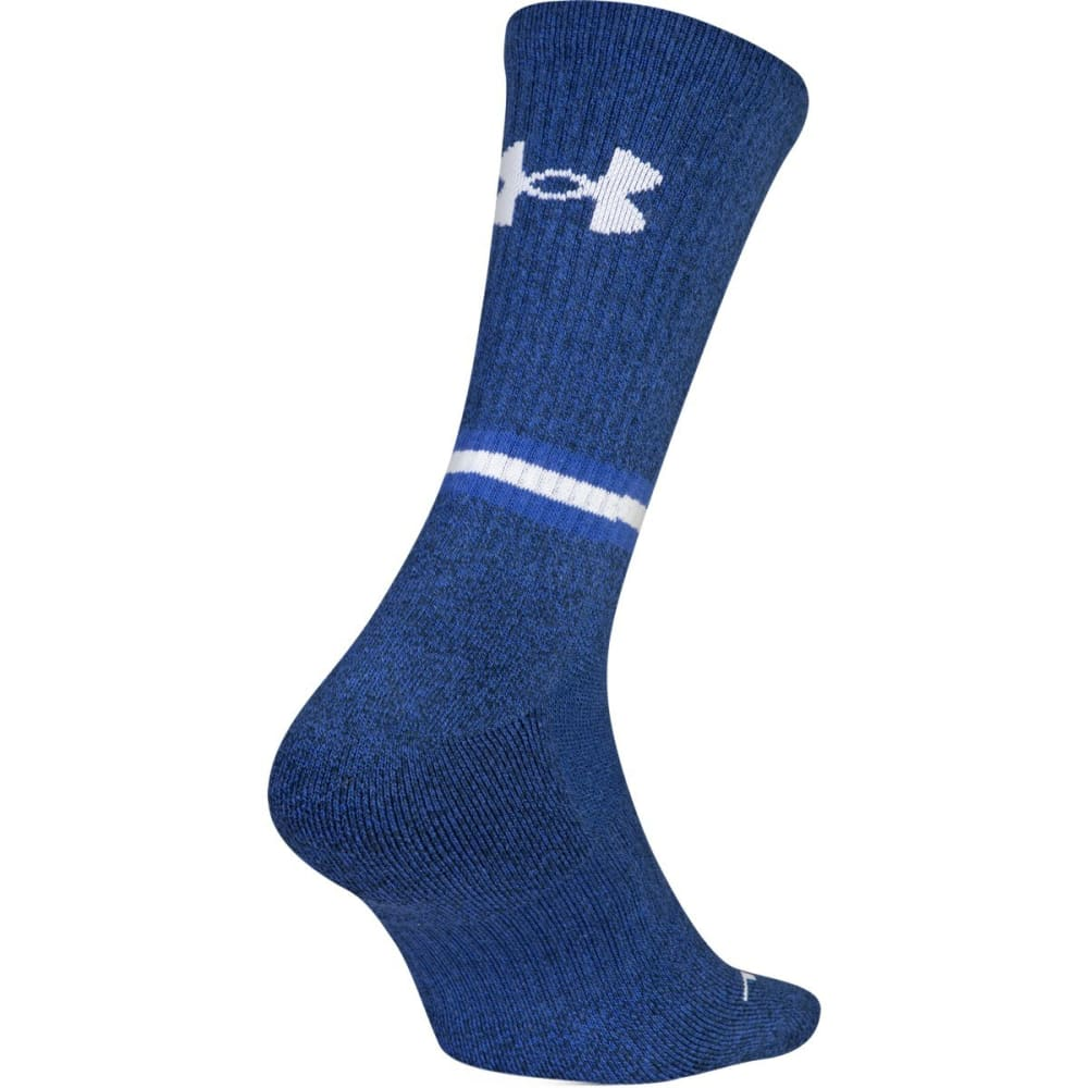 UNDER ARMOUR Men's Phenom 2.0 Crew Socks, 3-Pack - ACADEMY BLUE 961