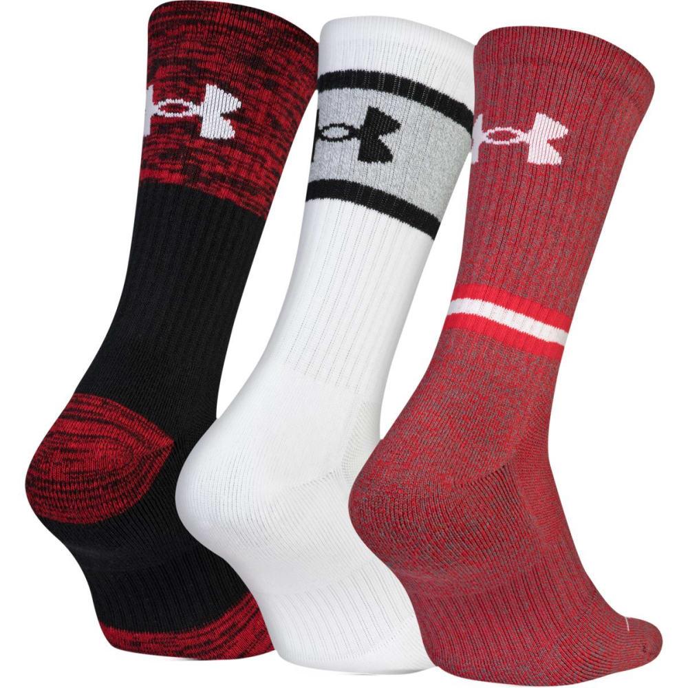 UNDER ARMOUR Men's Phenom 2.0 Crew Socks, 3-Pack - RED ASST  962