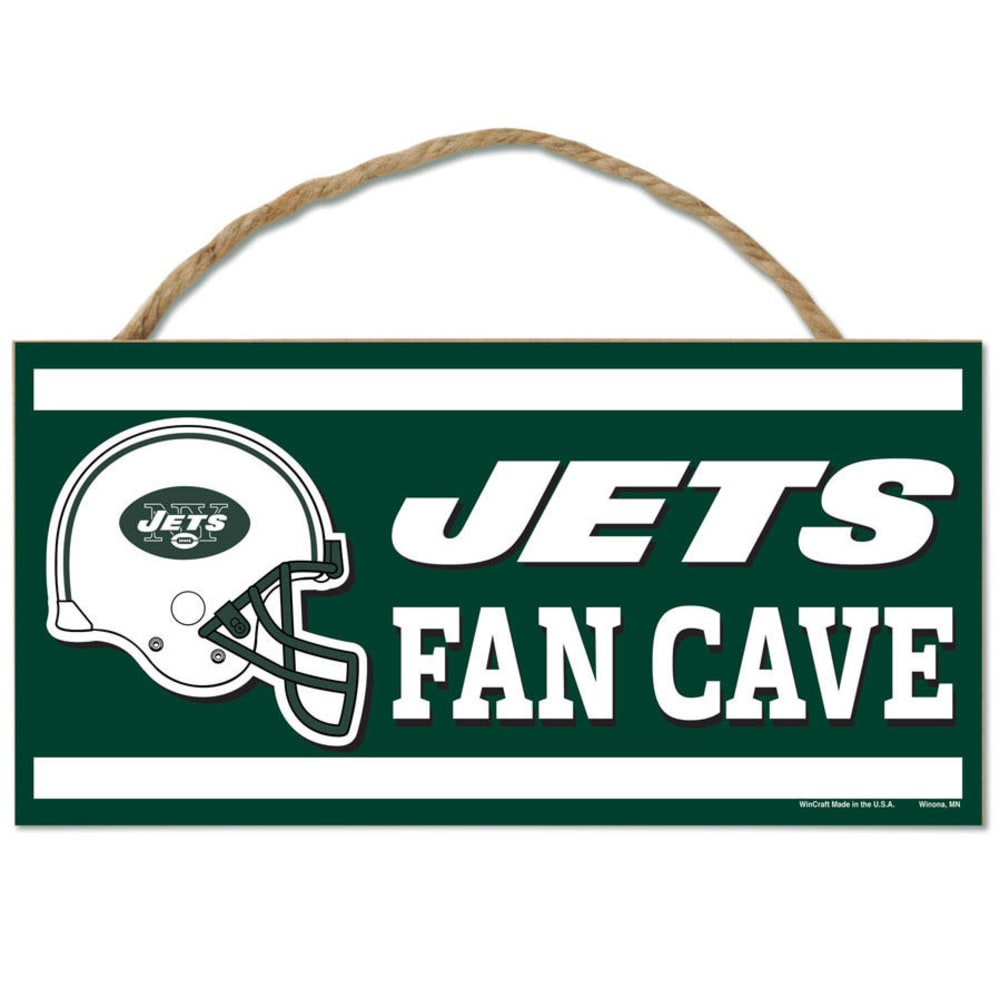 NEW YORK JETS Fan Cave Wood Rope Sign - GREEN